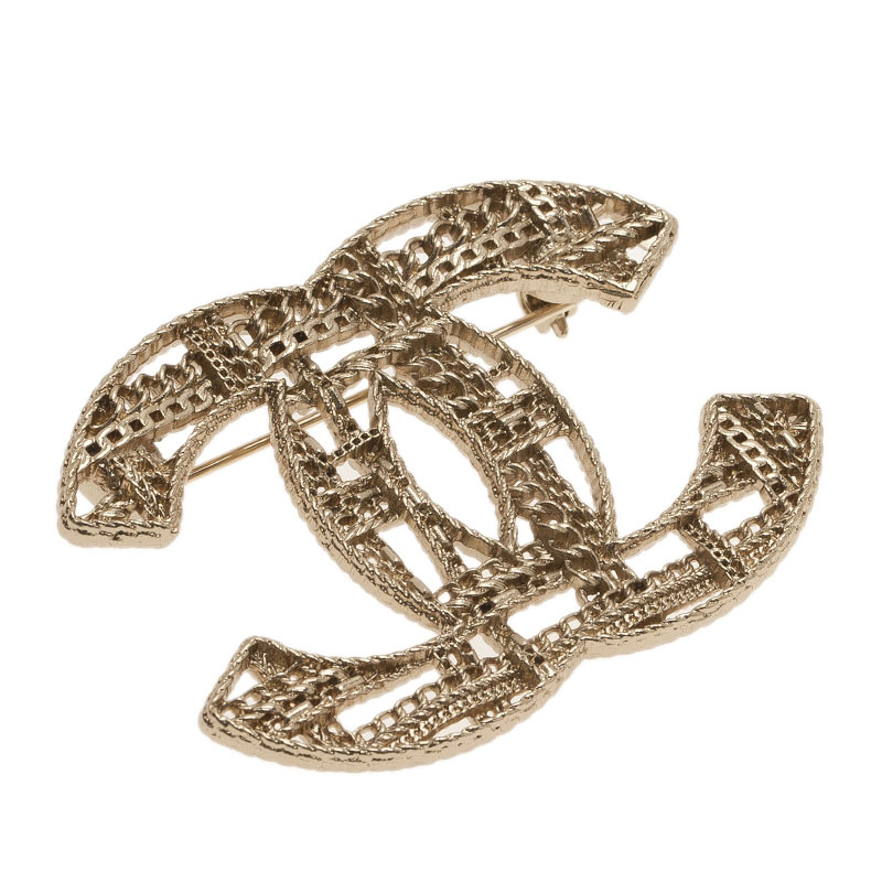 Chanel CC Chains Motif Gold Tone Brooch