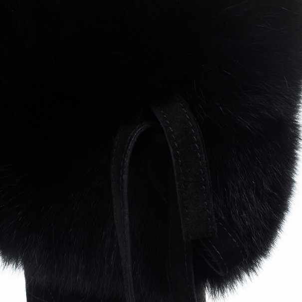 Dior Black Suede Cannage Fur Detail Knee Length Boots Size 37