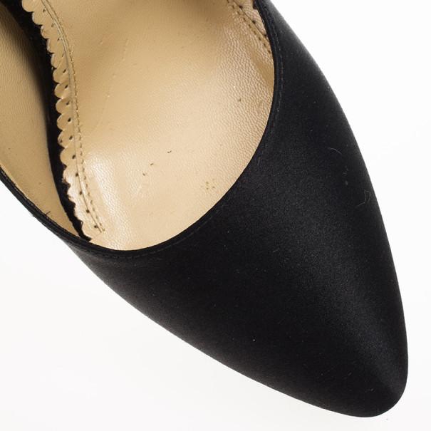 Charlotte Olympia Black Paloma Fan-pleat Satin Pumps Size 39.5