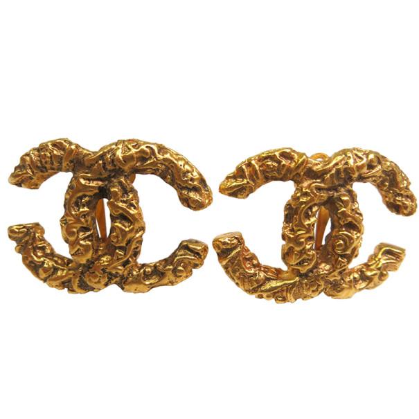 Chanel CC Gold Tone Earrings