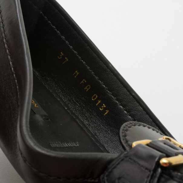 Louis Vuitton Black Leather Oxford Loafers Size 37