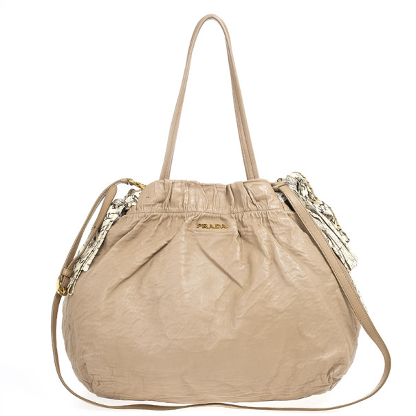 Prada Nappa Antique Snakeskin Hobo