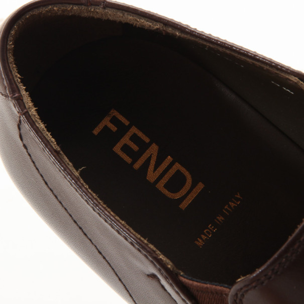 Fendi Brown Leather Men's Loafers Size 43
