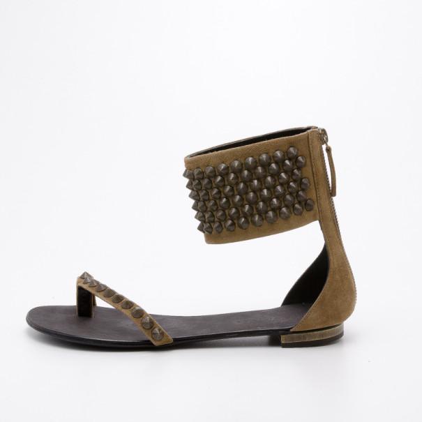 Giuseppe Zanotti pour Balmain Brown Suede Gladiator Studded Flat Sandals Size 38.5