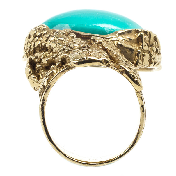 Saint Laurent Arty Green Oval Ring Size 54.5