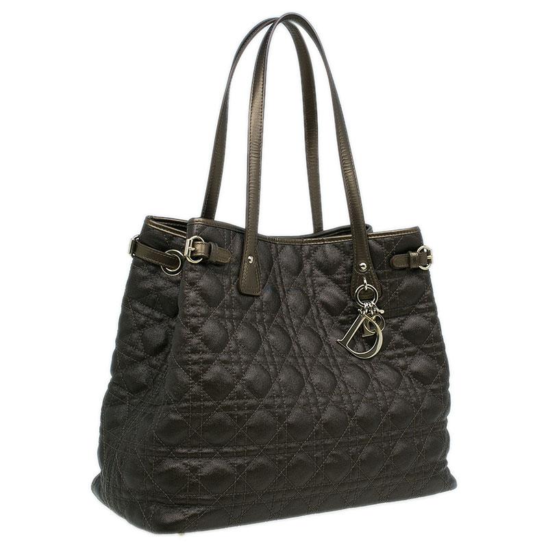 Dior Metallic Bronze Cannage Quilted Coated Canvas Medium Panarea Tote Bag