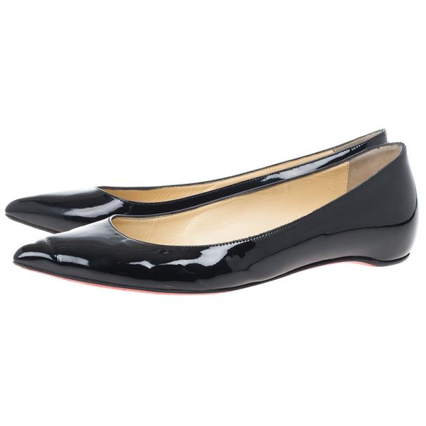 Christian Louboutin Black Patent Pigalle Ballet Flats Size 38.5