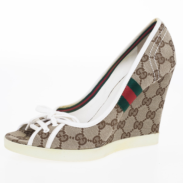 Gucci Guccissima Canvas Lace Up Peep Toe Wedges Size 38.5