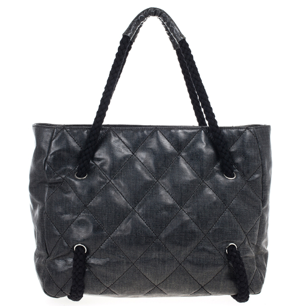 Chanel Grey Coated Canvas Large CC White Tote