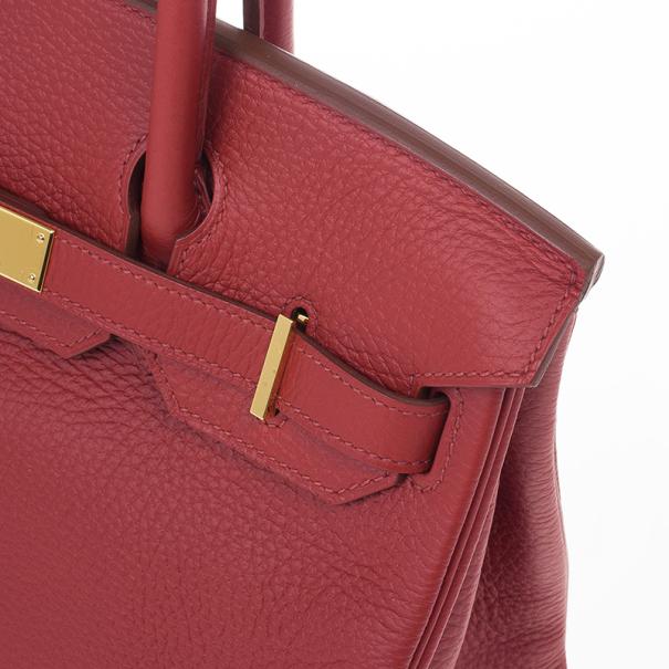 Hermes Geranium Taurillon Clemence Leather and Gold Hardware Birkin 30 CM