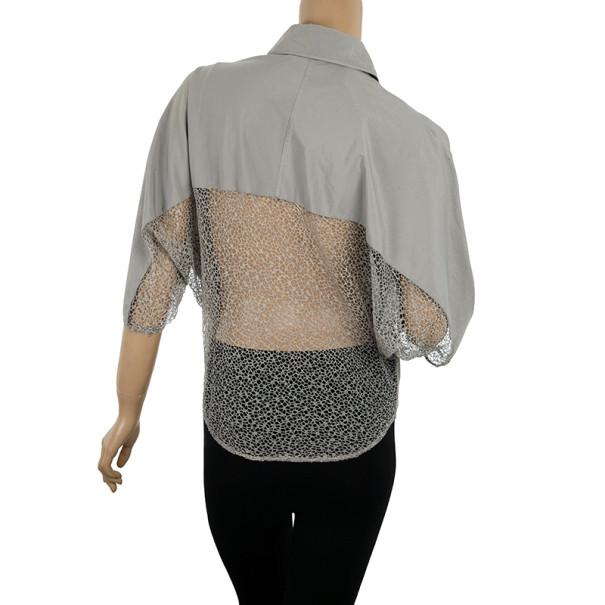 Saint Laurent Paris Poncho Crochet Back Shirt S