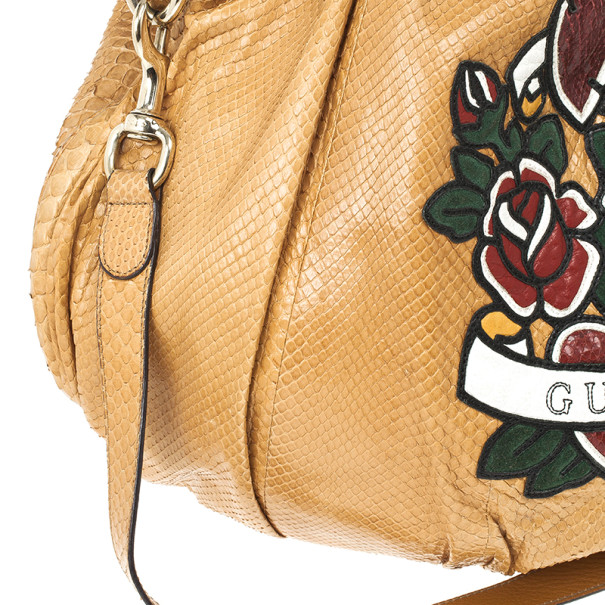 Gucci Tan Python Leather`Hysteria' With Heart Tattoo Print Hobo