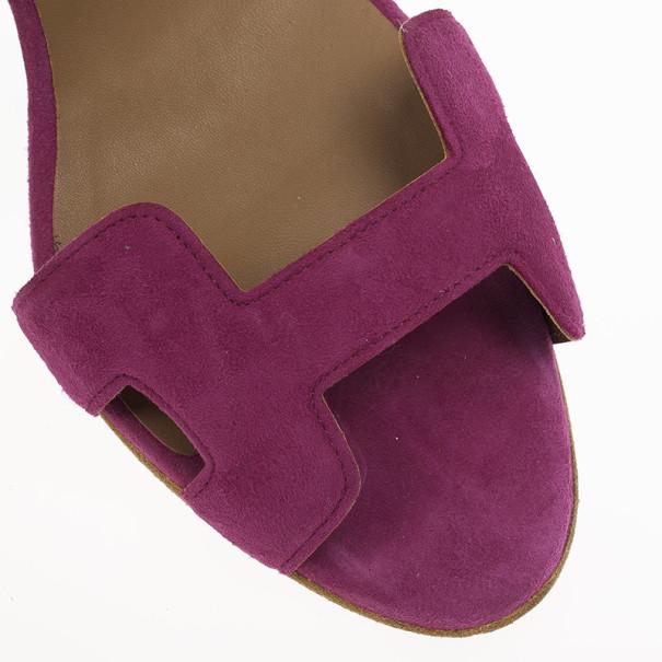 Hermes Pink Suede Night Slingback Sandals Size 37.5