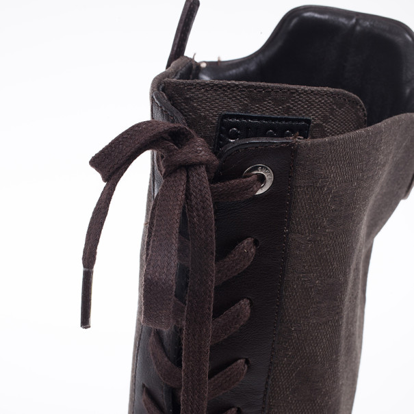 Gucci Brown Lace Up Flat Knee Length Boots Size 39