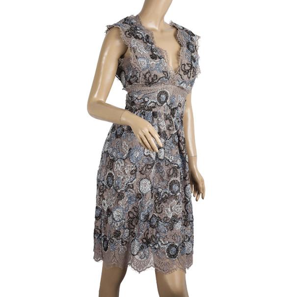 Burberry Prorsum Metallic Lace Dress XS