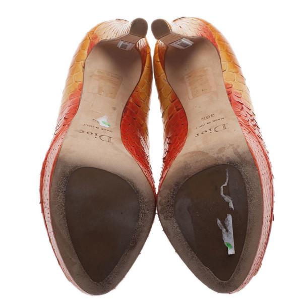 Dior Orange Python Miss Dior Peep Toe Platform Pumps Size 36.5