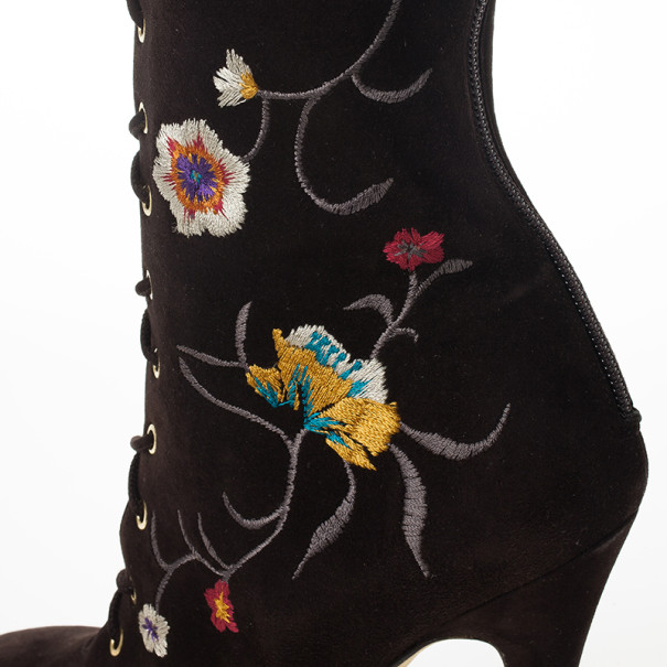 Jimmy Choo Brown Suede Floral Embroidered Colorado Knee Length Boots Size 36