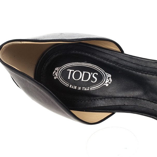 Tod's Black Leather D'orsay Ballet Flats Size 39