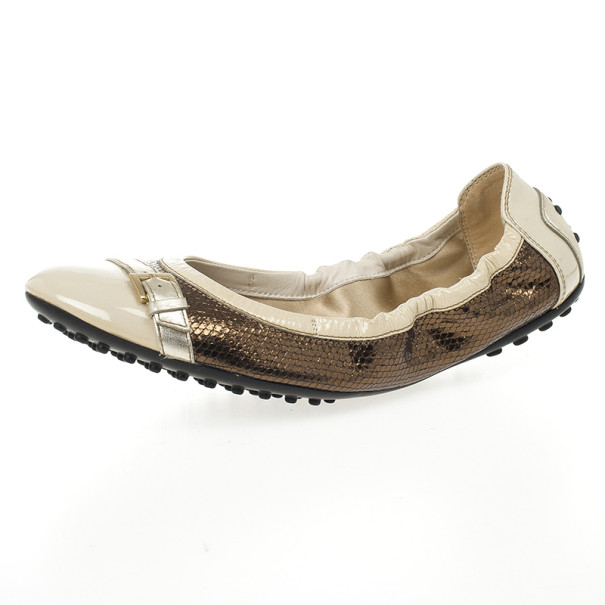 Tod's Beige & Brown Leather 'Dee Buckle' Ballet Flats Size 39