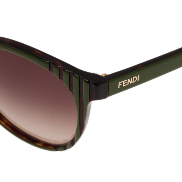 Fendi Green FS5344 Round Cat Eye Sunglasses