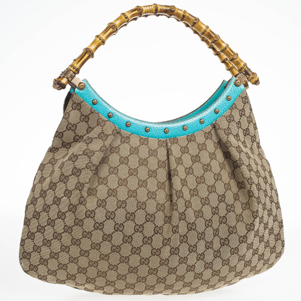Gucci Beige Ebony GG Canvas Turquoise Leather Studded Bamboo Handle Bag