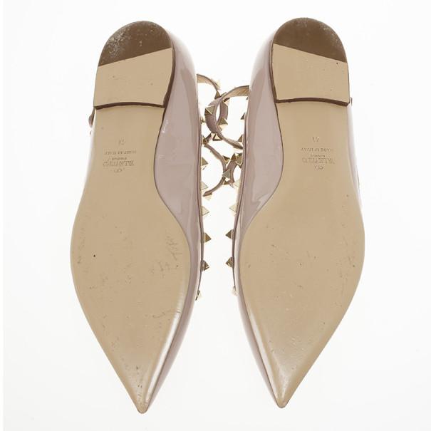 Valentino Nude Patent Rockstud Ballet Flats Size 41
