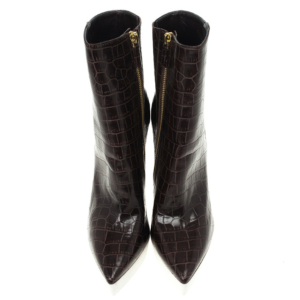 Stella McCartney Brown Croc Embossed Ankle Boots Size 39