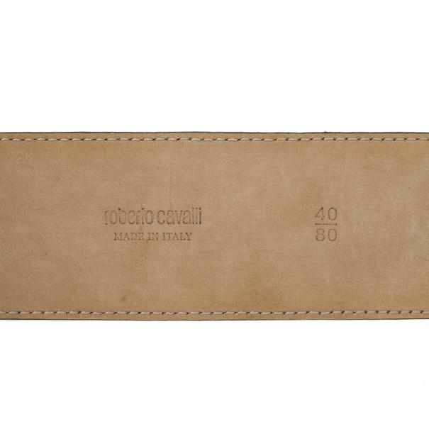 Roberto Cavalli Grey Leather Belt  80 CM