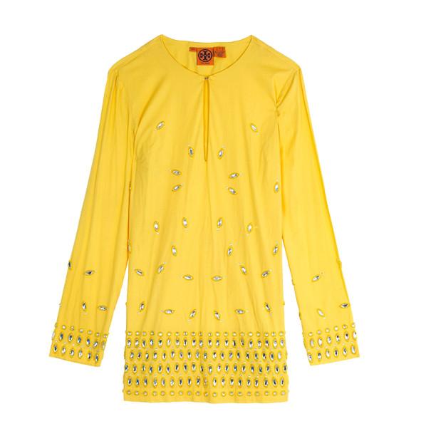 Tory Burch Yellow Embellished Tunic Top M