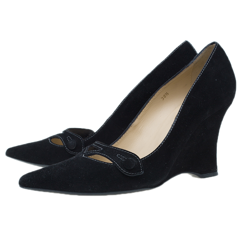 Tod's Black Suede Cutout Pointed Toe Wedge Pumps Size 38.5