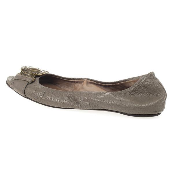 Burberry Grey Leather Clasp Peep Toe Ballet Flats Size 37.5