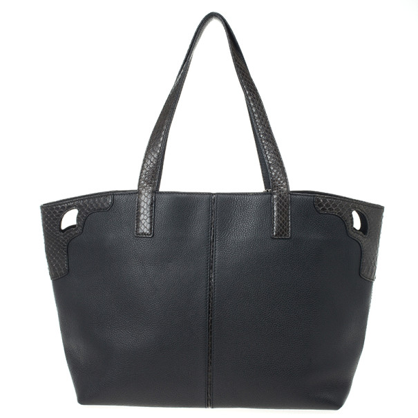 """Cartier Black Leather and Snakeskin Limited Edition """"Marcello de Cartier"""" Tote"""