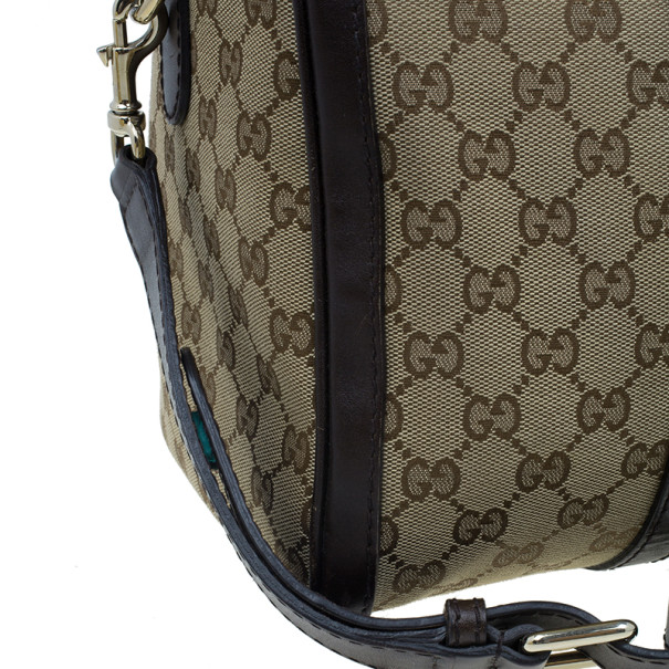 Gucci Brown Canvas Web Original GG Boston Bag