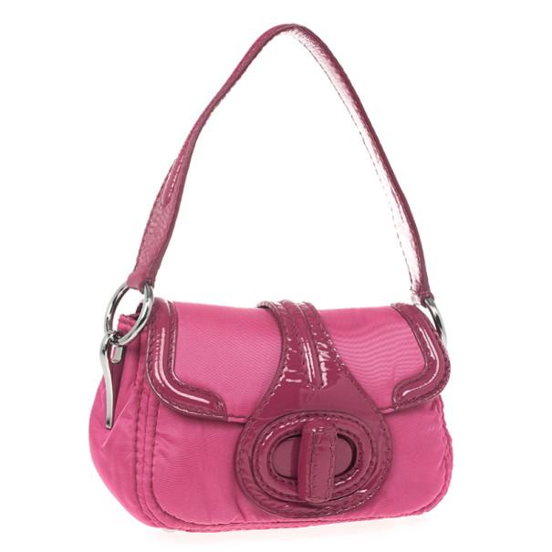 Prada Pink Nylon Gabardine Turnlock Flap Shoulder Bag