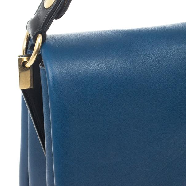 Celine Blue Calfskin Leather Blade Flap Bag
