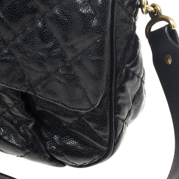 Chanel Black Quilted Glazed Cavier Leather Coco Pleats Messenger Bag