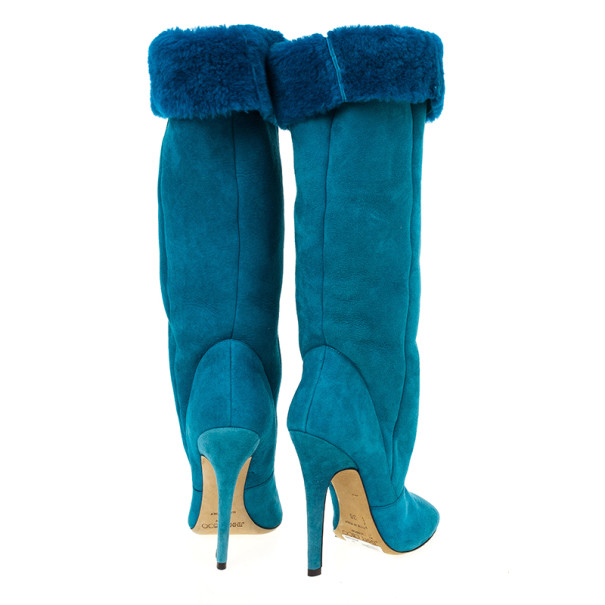 Jimmy Choo Blue Suede & Fur Tattoo Pull On Boots Size 36