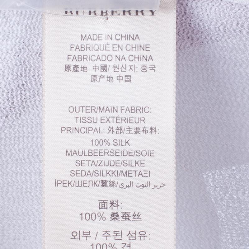 Burberry White Silk Button Down Top M