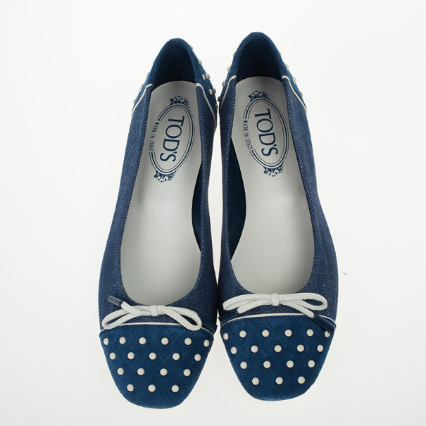 Tod's Blue Denim and Suede Dew Ballet Flats Size 37.5