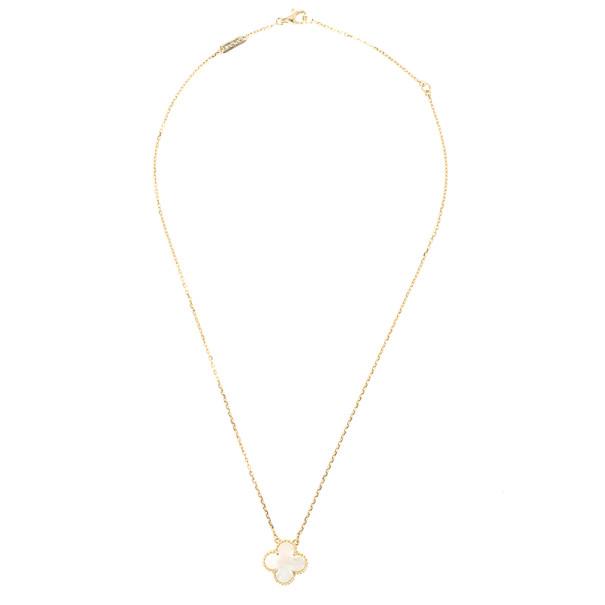 Van Cleef & Arpels Vintage Alhambra Mother of Pearl Pendant Necklace