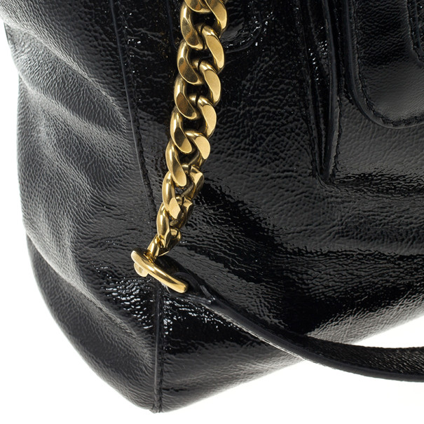 Jimmy Choo Black Patent Leather 'Camille' Quilted Pocket Tote