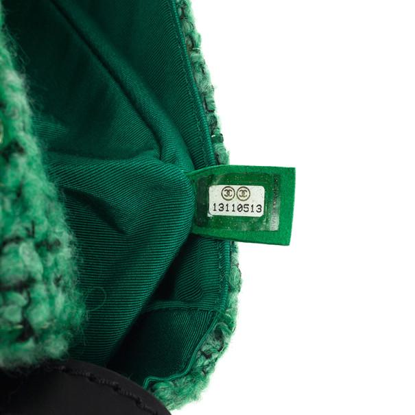 Chanel Green Easy Tweed Medium Flap