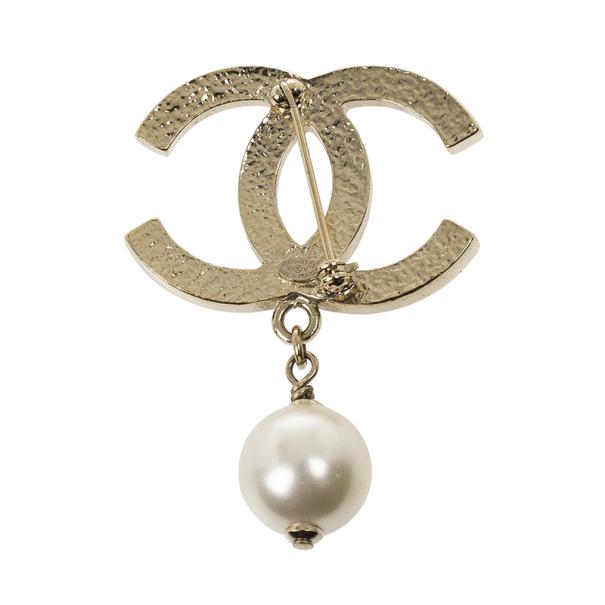 Chanel CC Pearl Drop Brooch