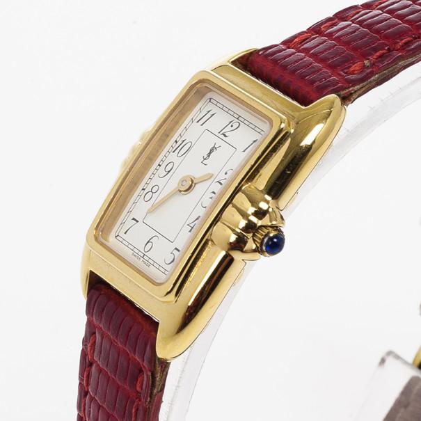 Yves Saint Laurent Rectangular SS Leather Womens Wristwatch 26 MM
