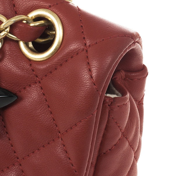 Chanel Red Classic Quilted Lambskin Flap Cruise Charm Bag