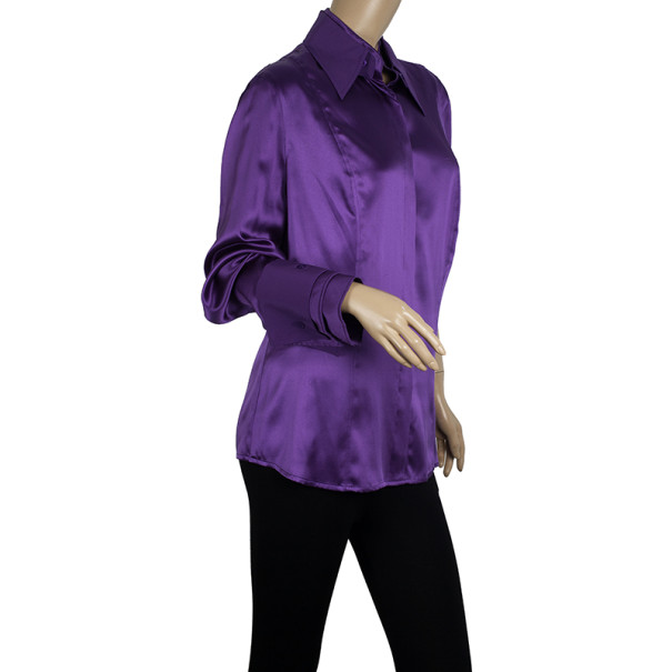 Escada Purple Silk Button Down Top L