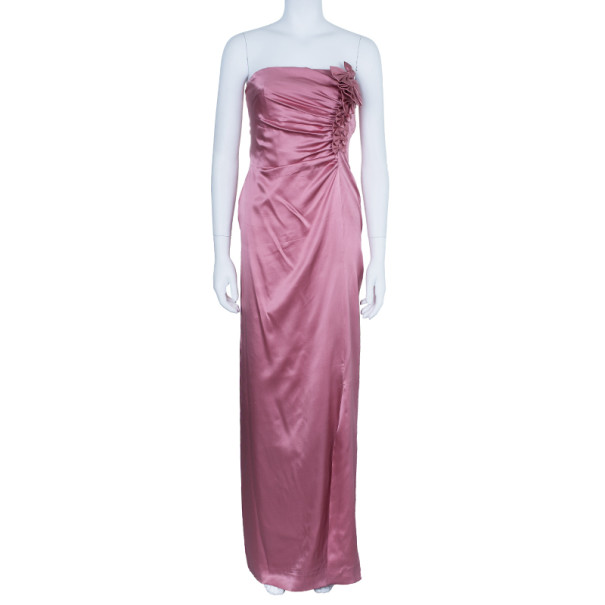 Valentino Mauve Silk Strapless Ruched Gown M