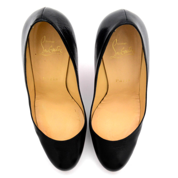 Christian Louboutin Black Leather New Simple Pumps Size 38