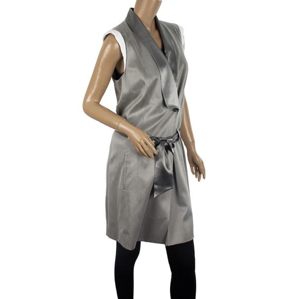 Alexander Wang Grey Matt Satin Wrap Dress M