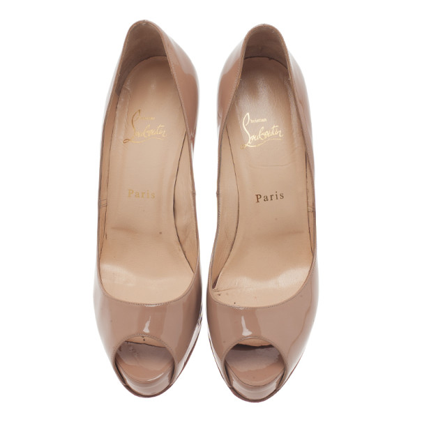 Christian Louboutin Nude Patent Very Prive Peep Toe Pumps Size 40